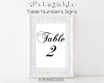 Printable 4 x 6 Table Number Signs Black and White 11-20