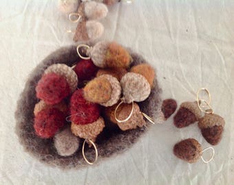 Acorn Pendant Needle Felted Wool -  Camel, Chocolate Brown, Mahogany, Chestnut, Light Brown