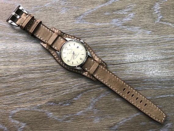 Leather Watch Band, Leather watch strap, Cuff band, Full bund strap, 20mm watch band, 19mm strap, Brown watch strap, Vintage, FREE SHIPPING