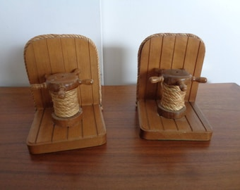 Vintage Mid Century Ships Wheel  Bookends