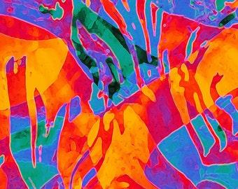 Brickworks Desert Dream original digital art print in vivid colors blue green orange yellow red fantasy organic flowing shapes