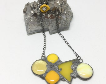 Yellow Statement Necklace Pendant Eclectic Unconventional Stained Glass Urban Artifact Handmade Jewelry