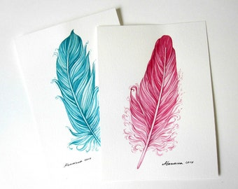 Watercolor Feathers  Set of 2 Painting Feather  5 x 7  Original watercolor paintings  Feather Watercolor Cards