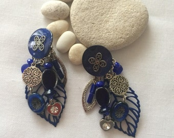 Blue clips and silver rhinestone earrings