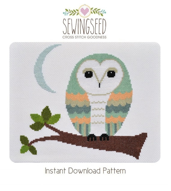 Barn Owl Cross Stitch Pattern Instant Download Whimsical DIY