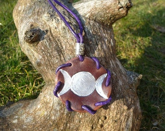 Triple Moon Leather Amulet ~ Goddess Wicca Paganism