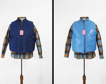 Puffy vintages NOS gilet en Nylon réversible bleu Zip gilet hiver Ski - grand