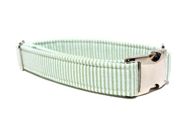 Boy Dog Collar | Green and White Seersucker Dog Collar with Metal Buckle | Green Dog Collar | Wedding Dog Collar