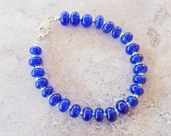 Navy bracelet. Blue bracelet. Simple bracelet. Everyday bracelet. Glass bracelet. Beaded bracelet. Upcycled. Recycled glass. Gift for her.