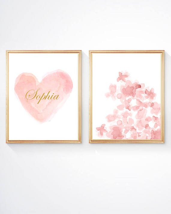 Blush Flowers with Personalized Blush Heart with Gold Lettering, 8x10-Set of 2 Prints