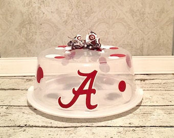 Alabama Cake Carrier, Personalize Cake Carrier, Alabama Cake Carrier, Roll Tide, Cake Carrier, Alabama, Vinyl Cake Carrier