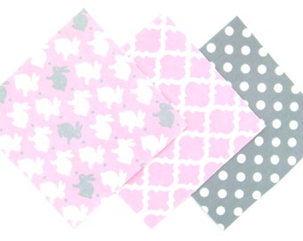 "36 Cotton Flannel 6""x6"" Pre Cut Quilt Square Kit in a Bundle of Cute Bunny Rabbits, Dots and Trellis Matching Prints"