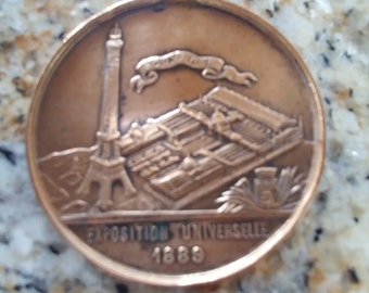 Antique French Art Medal/Pendant Exposition Universelle 1889 Eiffel Tower