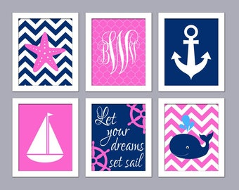 Baby Nursery Art - Pink Navy Nautical Nursery Wall Art - Dreams Set Sail - Girl Nursery Wall Decor