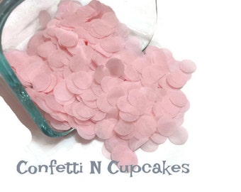 Pink circle confetti, baby girl shower, 1st birthday party, gender reveal decor, table decor, tissue paper confetti, circle dot confetti