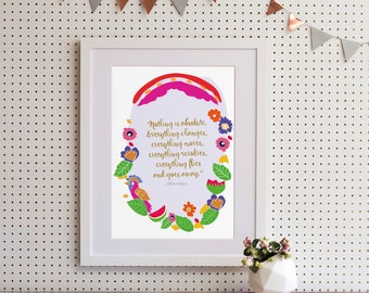 """Frida Kahlo """"Nothing is absolute..."""" Quote Art Print"""