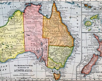 8x10 Print - Map, Australia, New Zealand, Fiji and Samoa in 1899