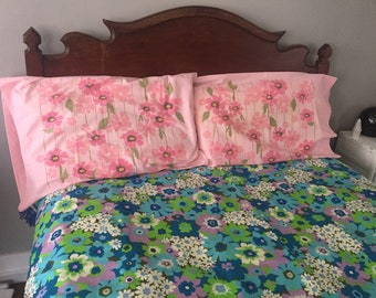 60s Vintage Pink Floral Pillowcases Set of Two