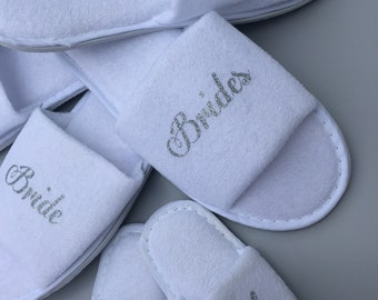 Bride slippers, bridesmaid gift, personalised slippers, Glitter slippers, Sister of the Groom, mother of the groom, slippers, white,