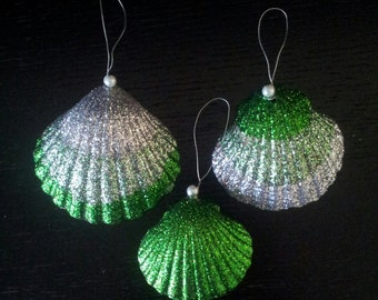 Beach Ornament - Set of 3 Glittered Shell Christmas Ornament Christmas Decoration