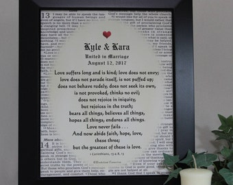 Wedding Gift Personalized, Marriage Scripture, Christian Wedding, Personalized Marriage Prayer, Wedding Bible Verse, NKJV, 8x10 inch Framed