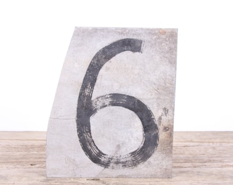 "Vintage Metal Number 6 / Old Number 6 / 10"" Score Board Number / Old Sports Sign / Vintage Number / Metal Numbers /Silver Antique Sign"