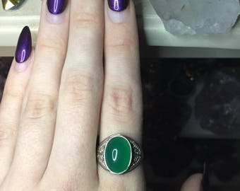 Green Chalcedony Sterling Silver Ring