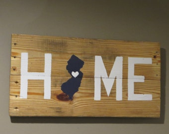 "New Jersey Home Pallet Wood Sign - Pallet SIgn 10"" X 20"""