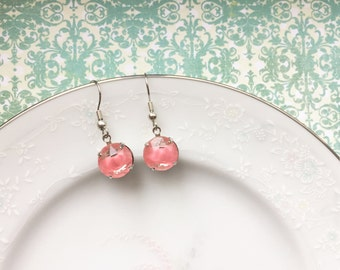 Little Pink Givre Drop Earrings, Silver, Hypoallergenic French Hooks, Dangle Earrings, Bubble Gum Pink