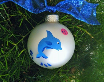 Dolphin Ornament Personalized - Hand Painted Glass Christmas Ornament, Jumpling Dolphin Art, Beach Vacation Souvenir, Dolphin Party, Nursery