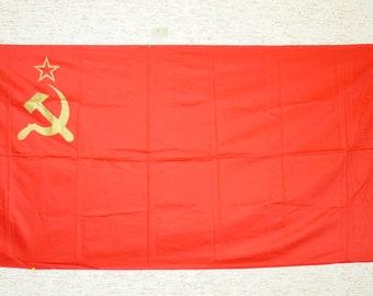 "Original Flag Pennant Banner Emblem USSR Soviet Russian Propaganda 32"" x 63"""