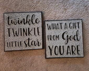 Twinkle Twinkle Little Star String Art Signs/ Nursery Decoration/ Nursery Decor/ Sky Nursery/ Baby Shower Gift/ Nursery Art/ Sky Nursery Set
