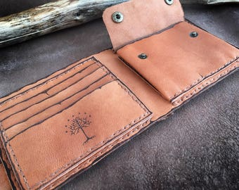 Men's Wallet, Genuine leather, Middle Earth wallet, Lord of the Rings, Wallet Case, Pyrography Leather, man accessory, coin case, map wallet