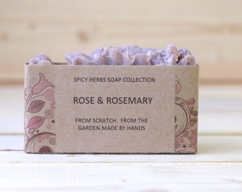 Rose Soap -  Rosemary Soap, Herbal Soap, Aged Skin Soap, Organic Soap, Natural Soap, Cold Process Soap, Vegan Soap, Handmade Soap