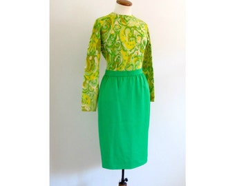 neon green skirt - 80s vintage bright kelly wiggle fit short tight high waisted mod pencil knee length bodycon mini french designer small
