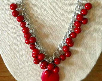 Red Glass Sweetheart Valentine Chain Necklace