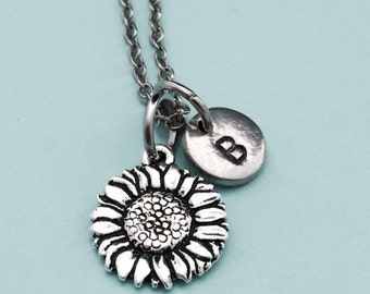 Sunflower necklace, sunflower charm, flower necklace, personalized necklace, initial necklace, monogrwm