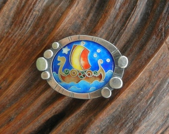 Viking Ship Cloisonne Enamel Brooch