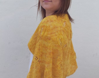Happy Spring Leaves cape, knitting pattern cape, intermediate knitting, cape with leaves, knit leaves, knitting with beads