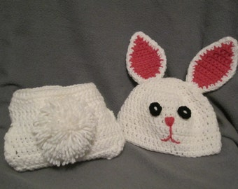 Bunny Hat with ears and Diaper cover with cotton tail