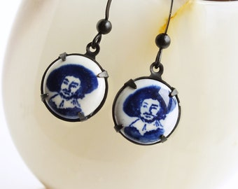 Rembrandt Art Cameo Dangle Earrings Fine Art History Jewelry Dutch Blue Delft Porcelain Earrings