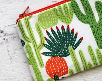 cactus change purse - cactus zipper pouch - cacti coin purse - zip pouch - small zipper pouch - under 10 gift