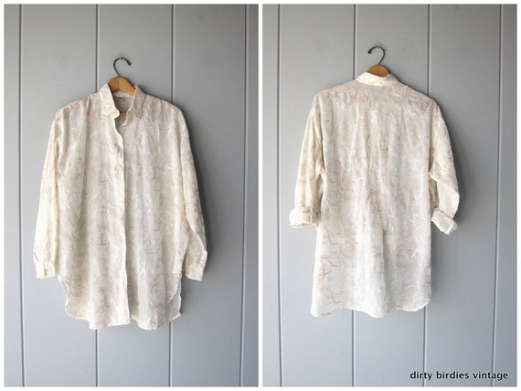 Sheer White Embroidered Blouse Oversized Button Up Tunic Top 90s Vintage Minimal Loose Fit Draped Blouse Womens Small OSFM