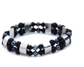 Silver Black Hematite & Pearl Bracelet, Hematite Bracelet, Elastic Bracelet, Gift for Her, Mothers Day Gift, Silver Bracelet, Black Bangle