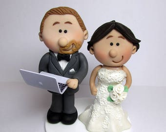 Bride And Groom  Wedding Cake Topper with Laptop, Personalised, Custom made to order, wedding