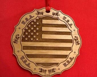 Christmas Ornament -USA Flag