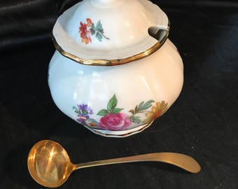 Western Germany Imported - JKW - fine porcelain - gold leaf w spoon - floral sugar bowl - dinnerware