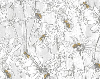 Bee Happy - Sketched Floral White from 3 Wishes Fabric