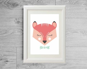 Fox print - Fox poster - Modern print - Animal nursery print - Geometric animal - Modern face fox - Kid's room wall art - Nursery art print