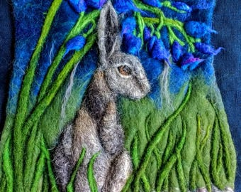 Bluebell Hare  needle felted wet felted picture wall hanging